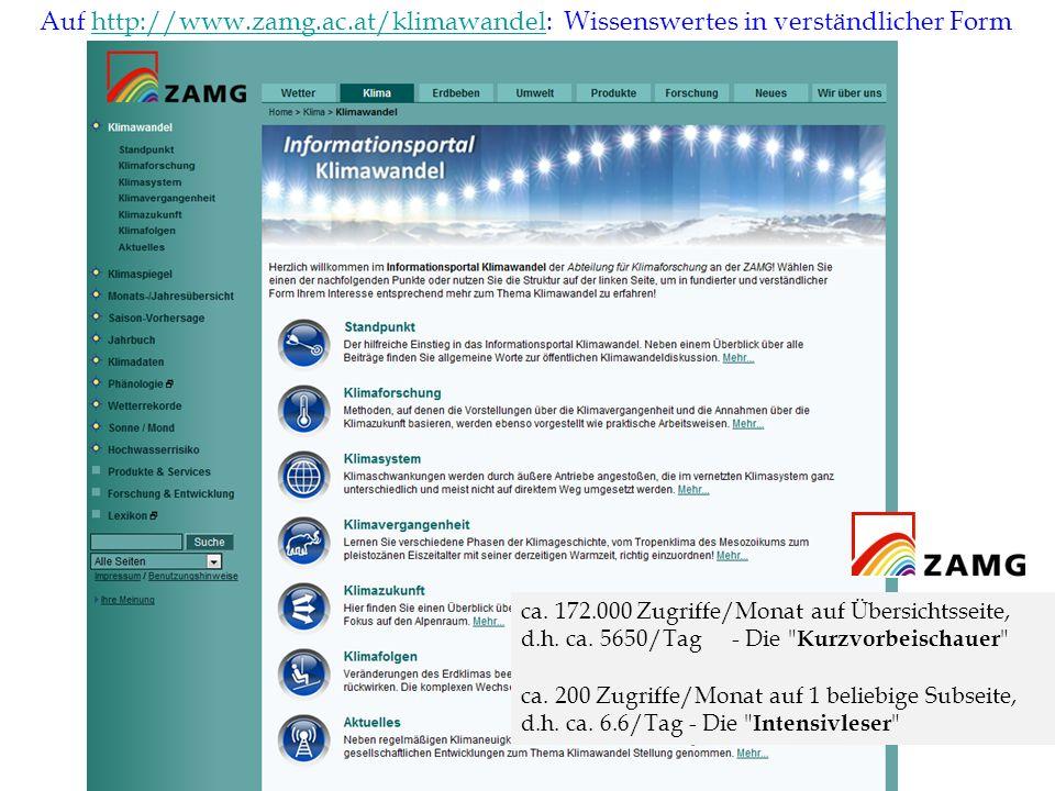 Auf http://www.zamg.ac.at/klimawandel: Wissenswertes in verständlicher Form