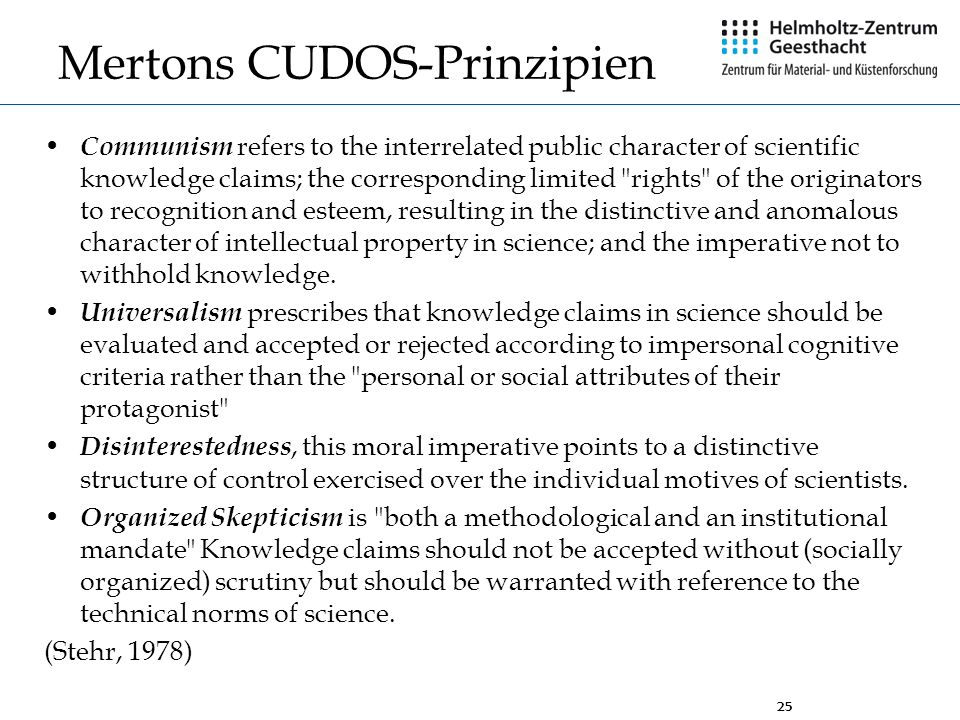 Mertons CUDOS-Prinzipien