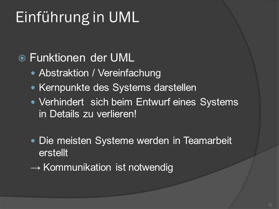 Einführung in UML Funktionen der UML Abstraktion / Vereinfachung