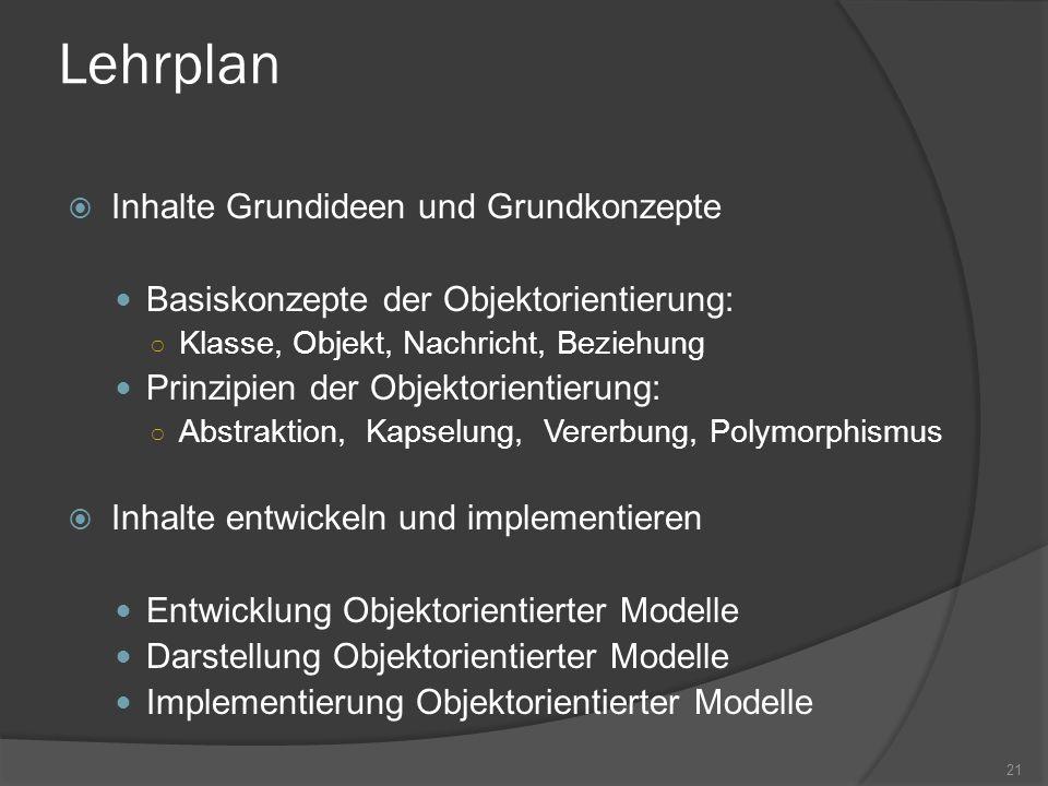 Lehrplan Inhalte Grundideen und Grundkonzepte