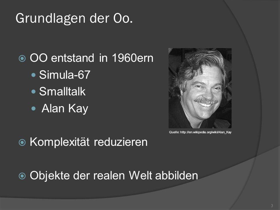 Grundlagen der Oo. OO entstand in 1960ern Simula-67 Smalltalk Alan Kay