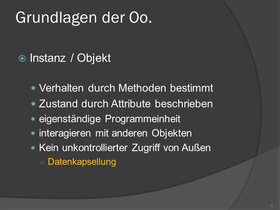Grundlagen der Oo. Instanz / Objekt Verhalten durch Methoden bestimmt