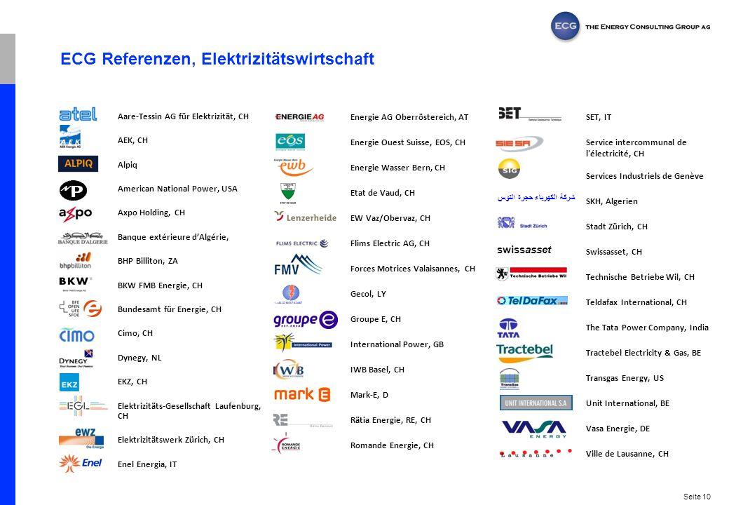 ECG Referenzen, Elektrizitätswirtschaft