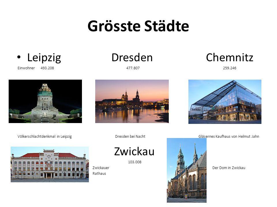 Grösste Städte Leipzig Dresden Chemnitz Zwickau
