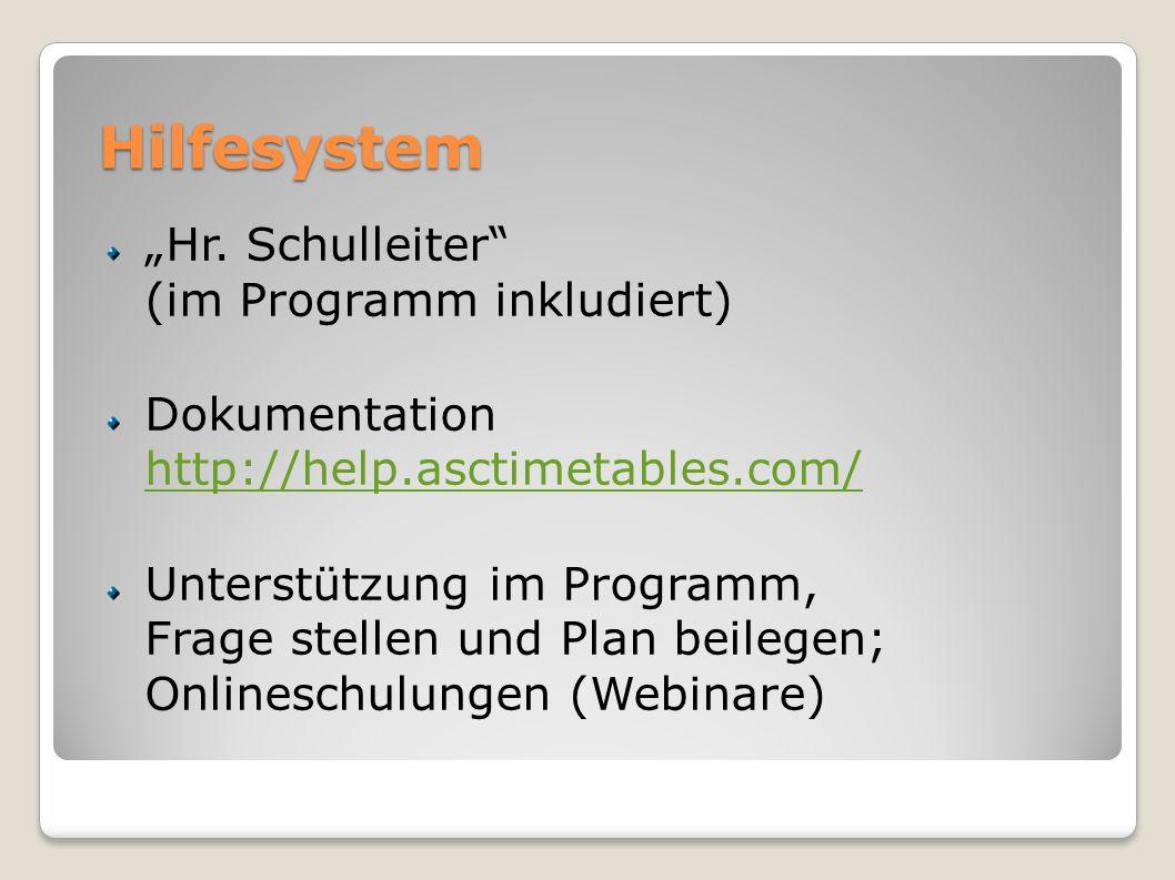 """Hilfesystem """"Hr. Schulleiter (im Programm inkludiert)"""