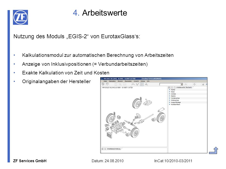 """4. Arbeitswerte Nutzung des Moduls """"EGIS-2 von EurotaxGlass's:"""