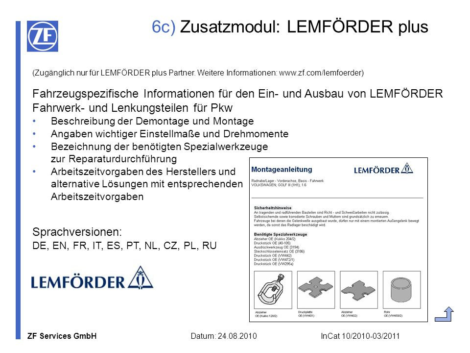 6c) Zusatzmodul: LEMFÖRDER plus