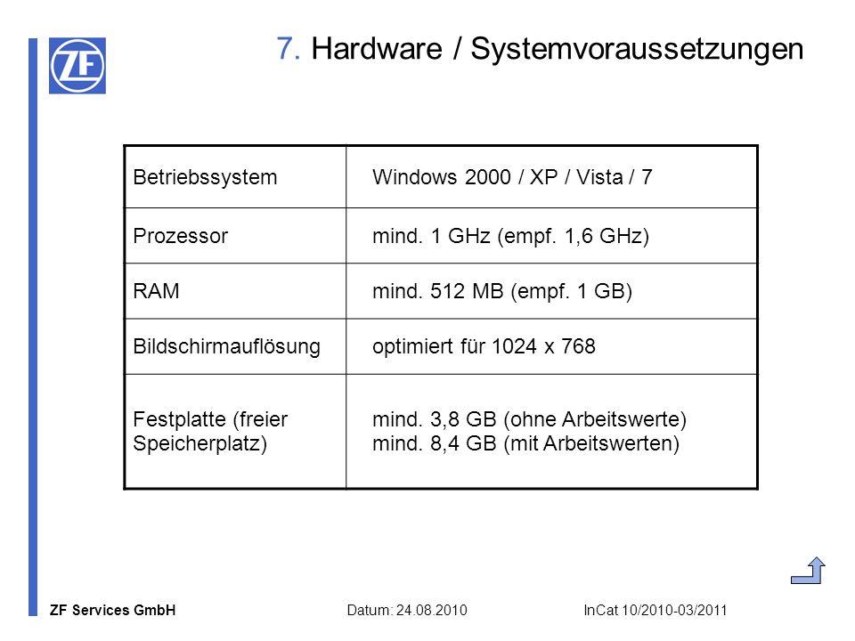 7. Hardware / Systemvoraussetzungen