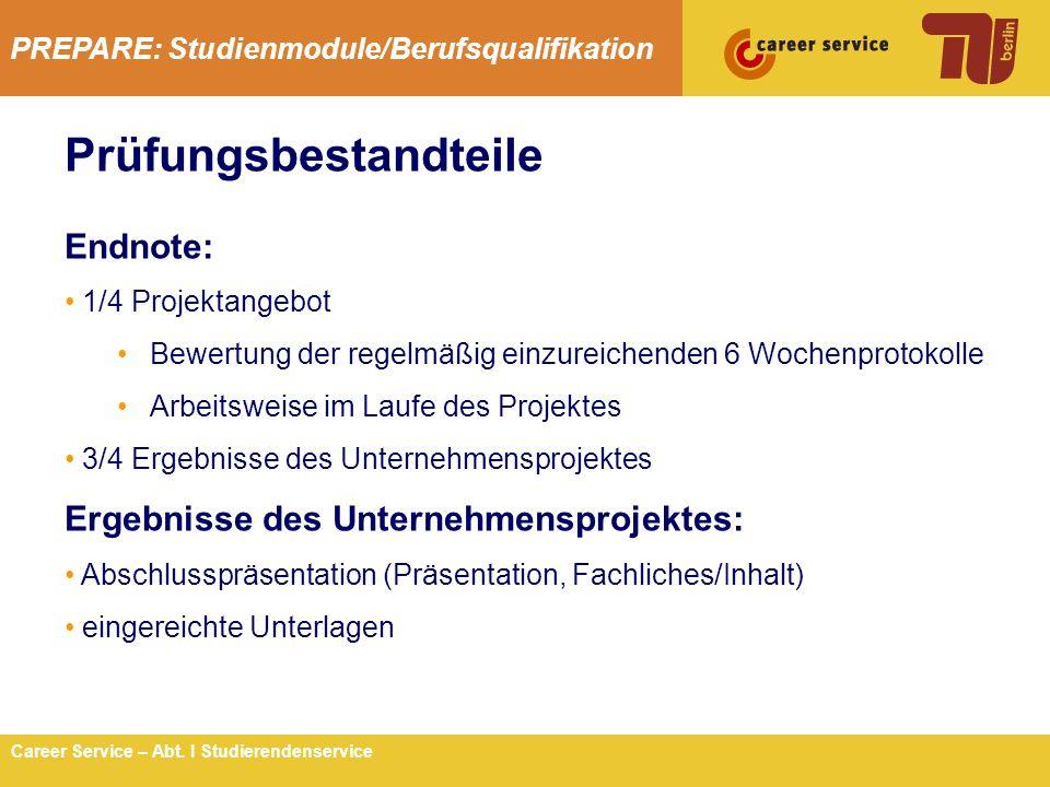 Prüfungsbestandteile Endnote: