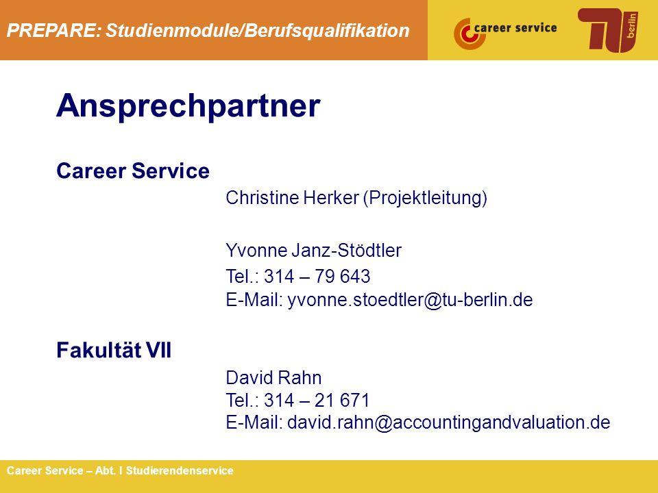 Ansprechpartner Career Service Christine Herker (Projektleitung)