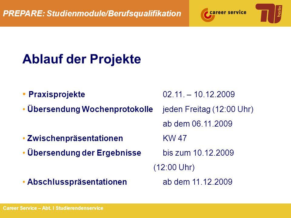 Ablauf der Projekte Praxisprojekte 02.11. – 10.12.2009