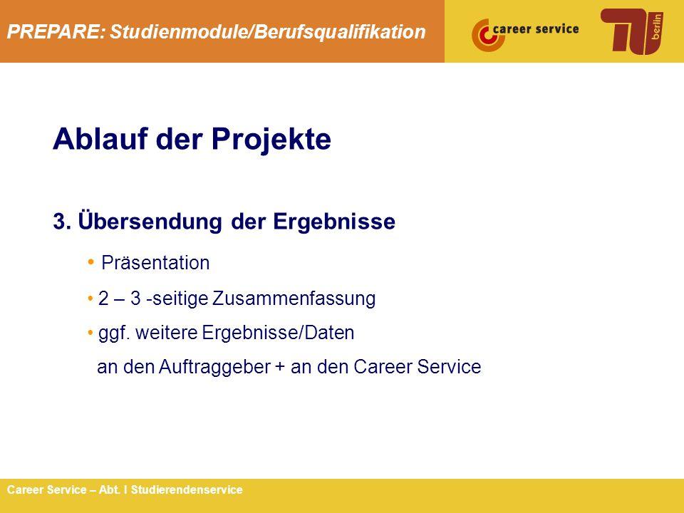 Ablauf der Projekte 3. Übersendung der Ergebnisse Präsentation