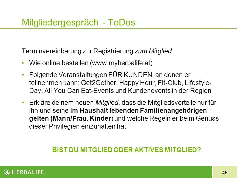 Mitgliedergespräch - ToDos