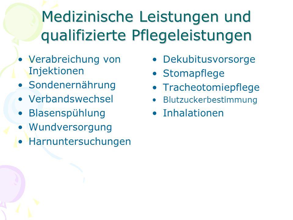 Medizinische Leistungen und qualifizierte Pflegeleistungen