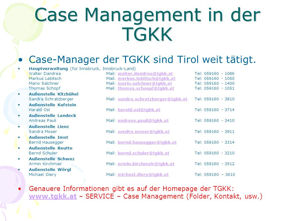 Case Management in der TGKK