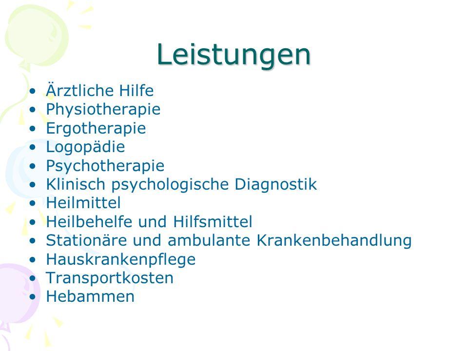 Leistungen Ärztliche Hilfe Physiotherapie Ergotherapie Logopädie