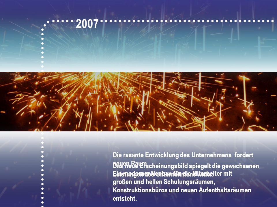 2007 Die rasante Entwicklung des Unternehmens fordert neuen Raum.