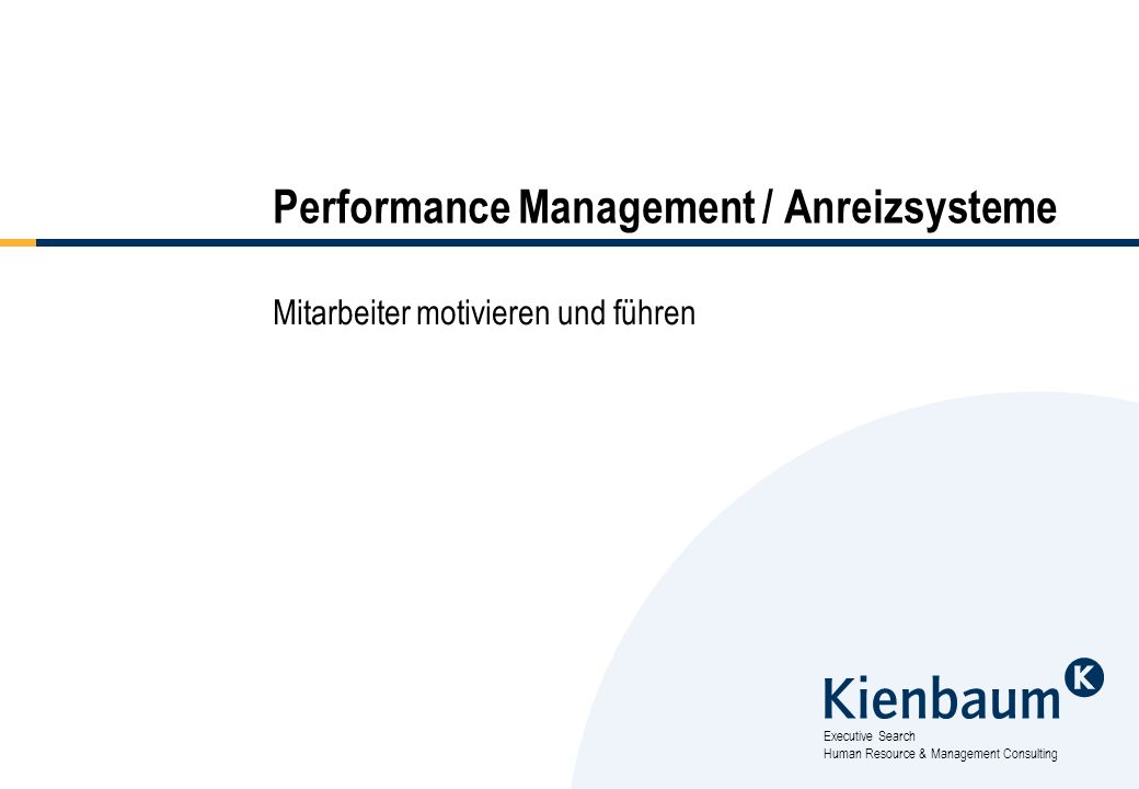 Performance Management / Anreizsysteme