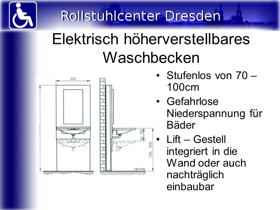 Elektrisch höherverstellbares Waschbecken