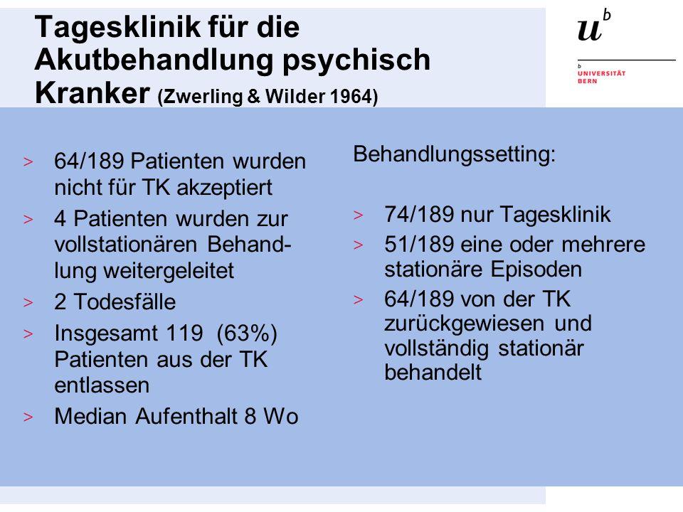 Tagesklinik für die Akutbehandlung psychisch Kranker (Zwerling & Wilder 1964)