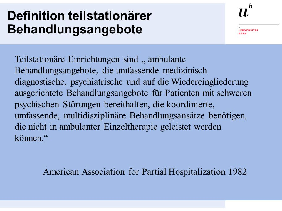 Definition teilstationärer Behandlungsangebote