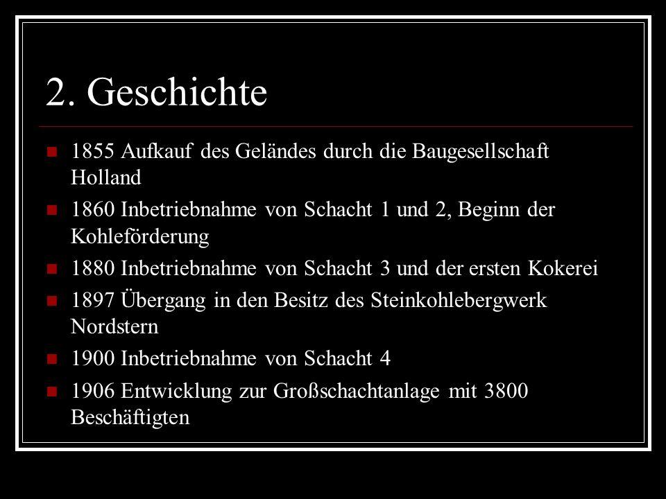 2. Geschichte 1855 Aufkauf des Geländes durch die Baugesellschaft Holland. 1860 Inbetriebnahme von Schacht 1 und 2, Beginn der Kohleförderung.