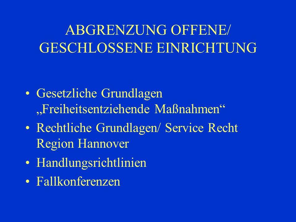ABGRENZUNG OFFENE/ GESCHLOSSENE EINRICHTUNG
