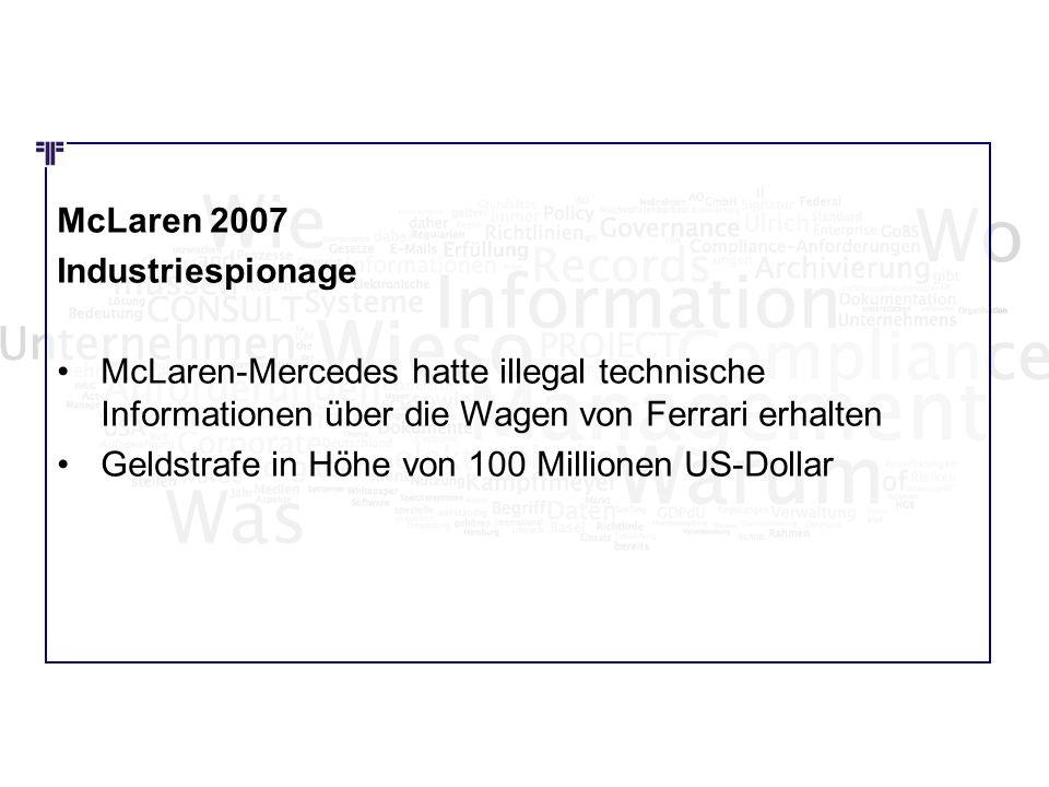 Wie Wo Was McLaren 2007 Industriespionage