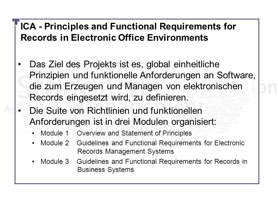ICA - Principles and Functional Requirements for