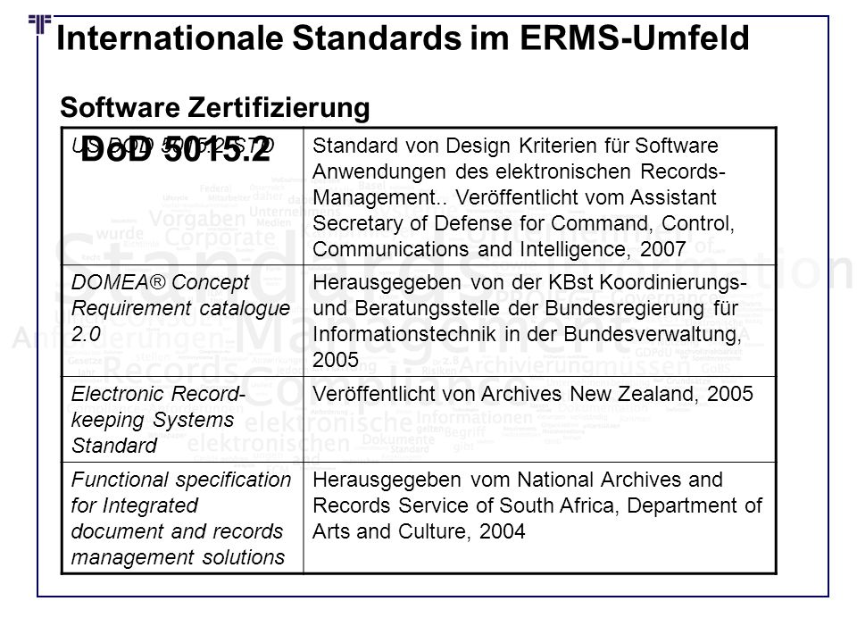DoD 5015.2 Internationale Standards im ERMS-Umfeld