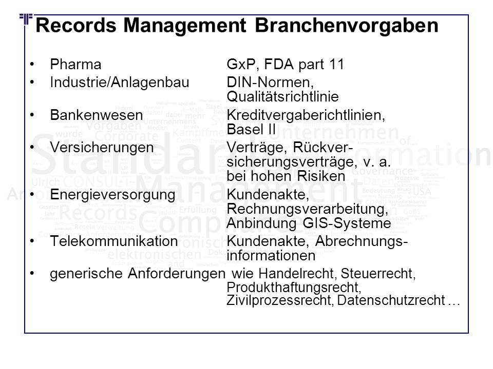 Records Management Branchenvorgaben
