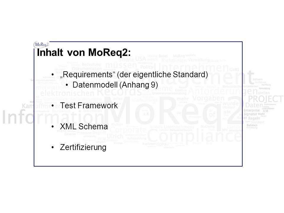"""Inhalt von MoReq2: """"Requirements (der eigentliche Standard)"""
