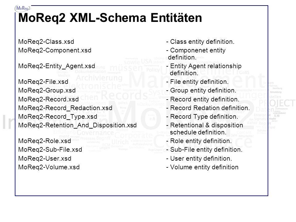 MoReq2 XML-Schema Entitäten