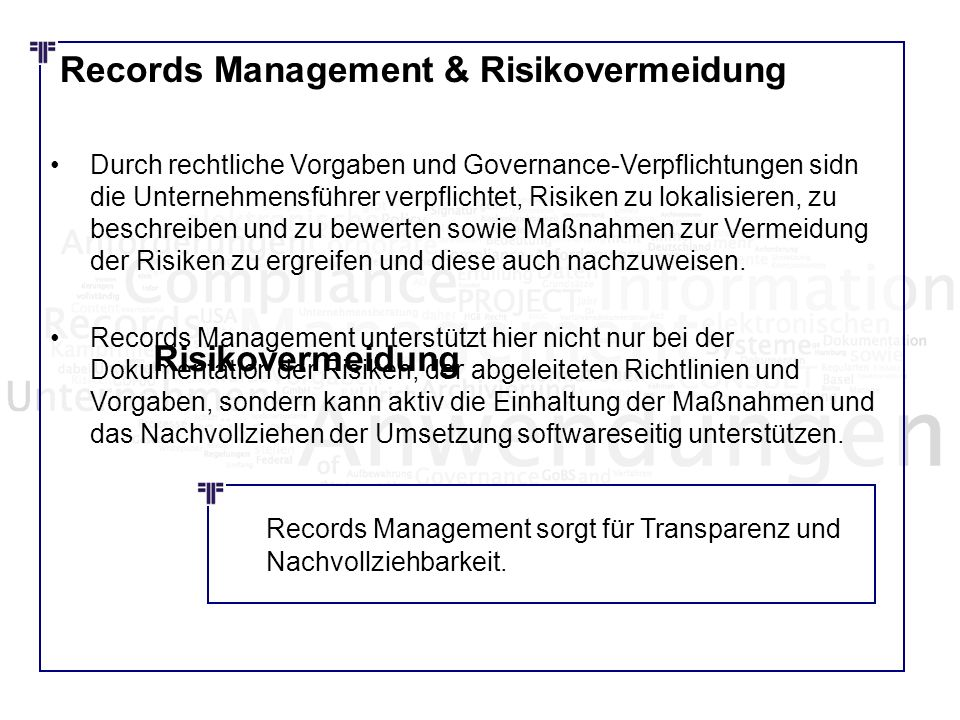 Records Management & Risikovermeidung