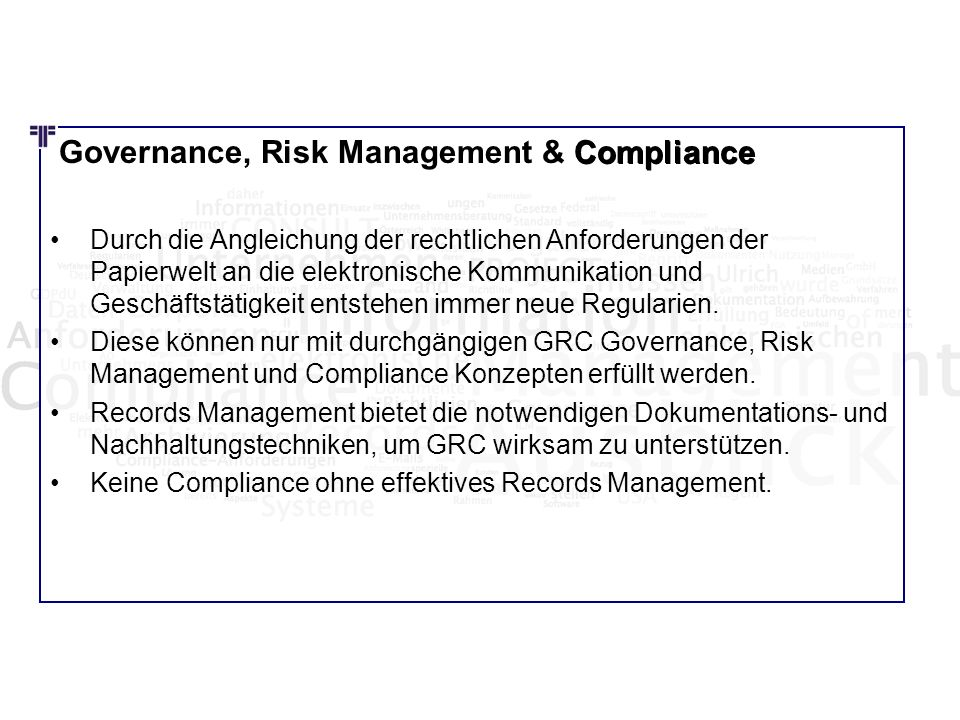Governance, Risk Management & Compliance Compliance