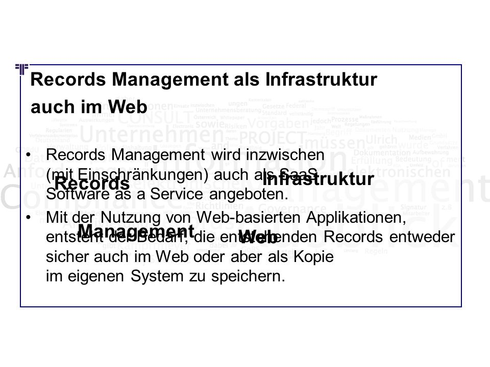 auch im Web Infrastruktur Records Management Web