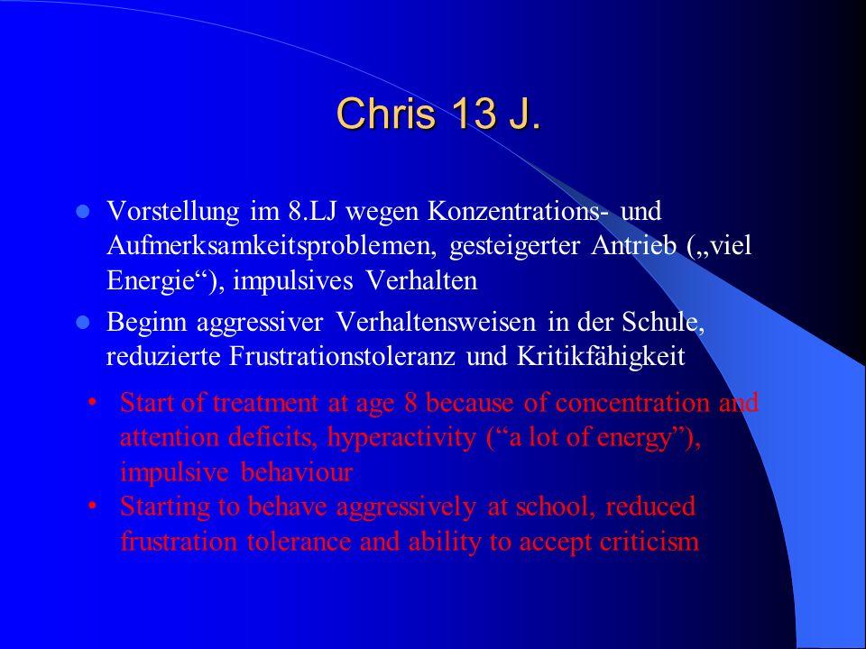 """Chris 13 J. Vorstellung im 8.LJ wegen Konzentrations- und Aufmerksamkeitsproblemen, gesteigerter Antrieb (""""viel Energie ), impulsives Verhalten."""