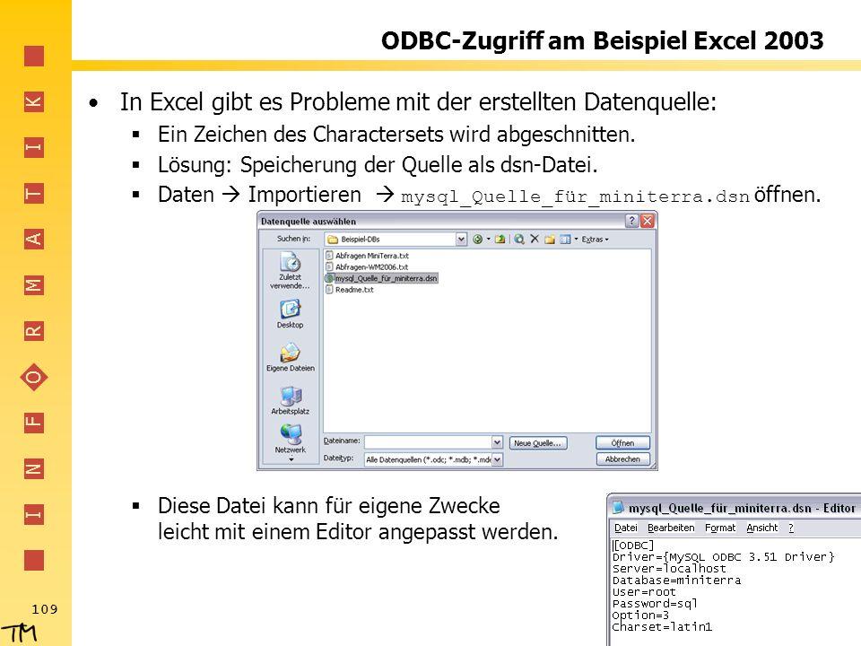 ODBC-Zugriff am Beispiel Excel 2003