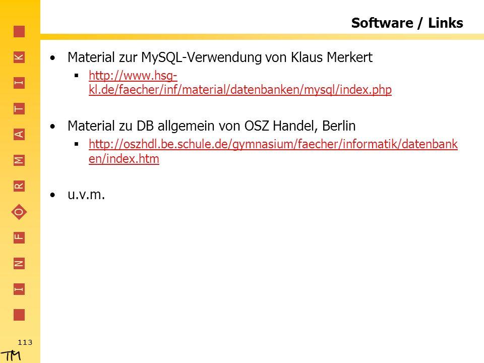 Material zur MySQL-Verwendung von Klaus Merkert