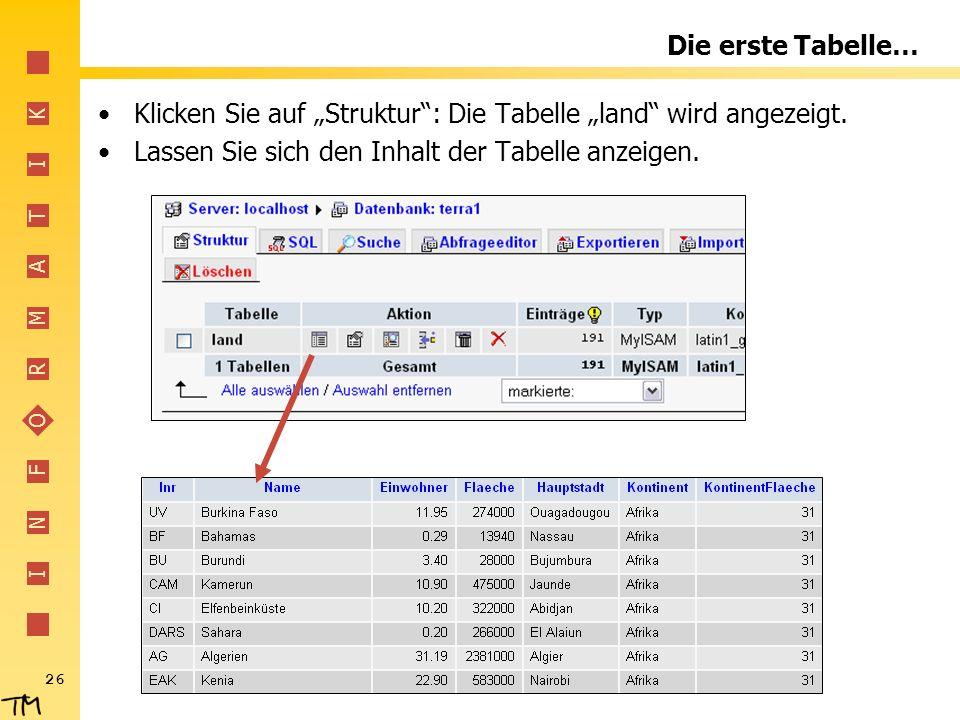 """Die erste Tabelle… Klicken Sie auf """"Struktur : Die Tabelle """"land wird angezeigt."""