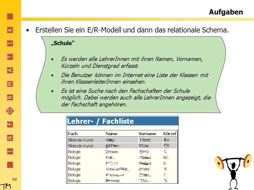 Erstellen Sie ein E/R-Modell und dann das relationale Schema.