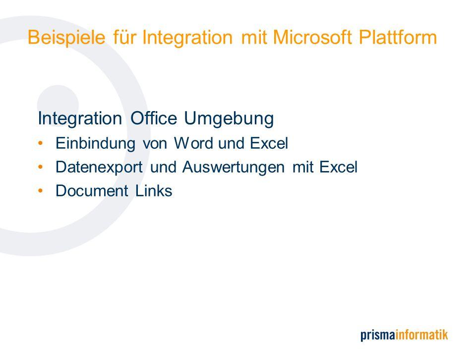 Beispiele für Integration mit Microsoft Plattform