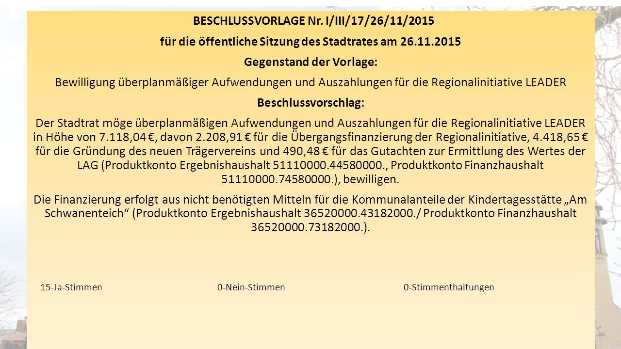 BESCHLUSSVORLAGE Nr. I/III/17/26/11/2015