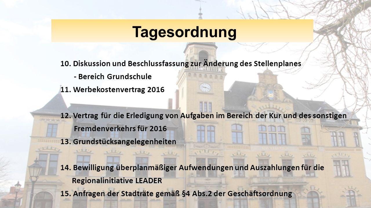 Tagesordnung 10. Diskussion und Beschlussfassung zur Änderung des Stellenplanes. - Bereich Grundschule.