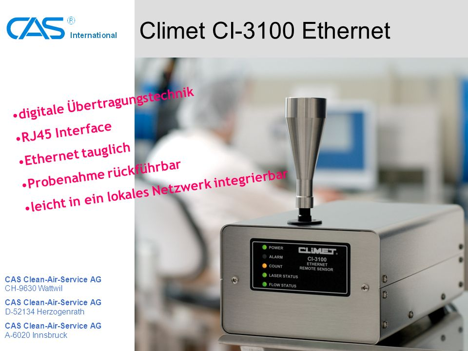 Climet CI-3100 Ethernet digitale Übertragungstechnik RJ45 Interface