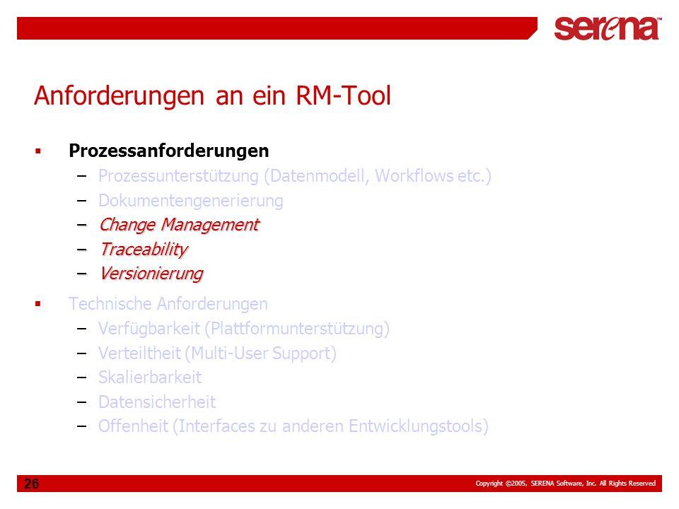 Anforderungen an ein RM-Tool