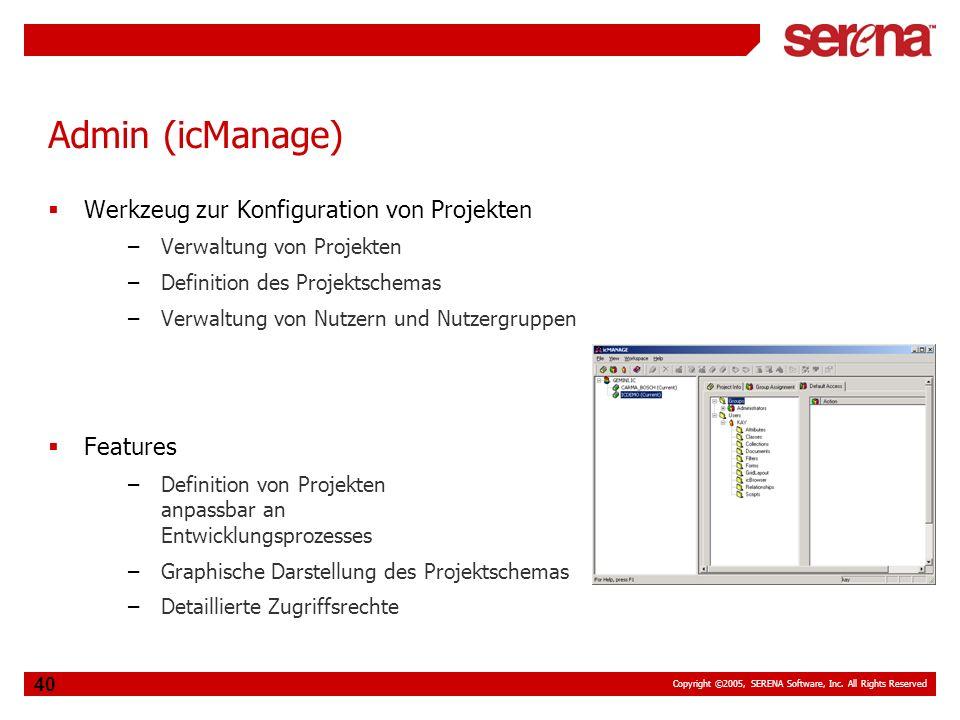 Admin (icManage) Werkzeug zur Konfiguration von Projekten Features