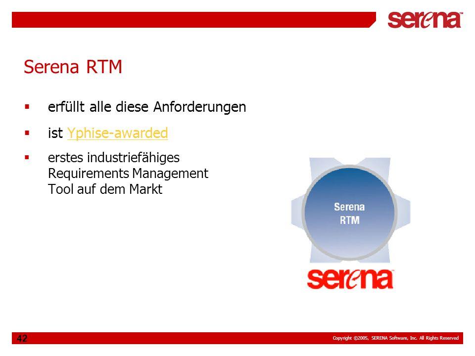 Serena RTM erfüllt alle diese Anforderungen ist Yphise-awarded