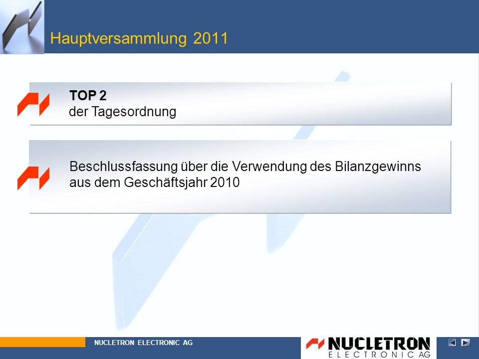 Hauptversammlung 2011 Top 2 TOP 2 der Tagesordnung