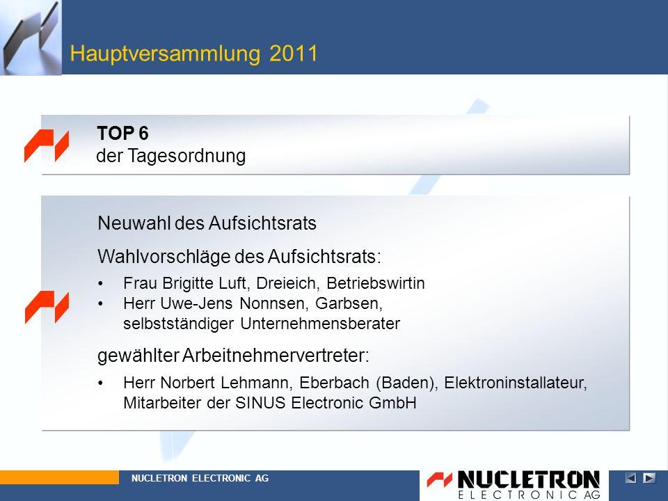 Hauptversammlung 2011 Top 6 TOP 6 der Tagesordnung